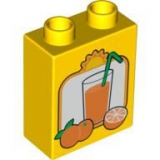DUPLO Baustein 1x2x2 Orange mit Glass gelb (4066)