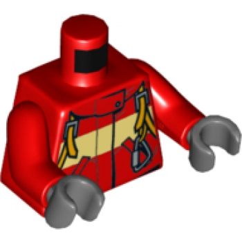 "LEGO Minifig Torso ""Feuerwehr"" Overall rot (973)"