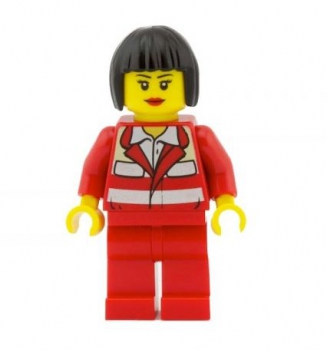 LEGO City Minifigur weibl. roter Overall (271)