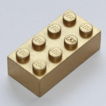 LEGO Stein 2x4 gold metallic (3001)