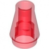 Rundstein Kegel 1x1 transparent rot (4589)